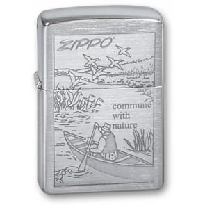 Зажигалка ZIPPO Row Boat, с покрытием Brushed Chrome, латунь/сталь, серебристая, 36x12x56 мм