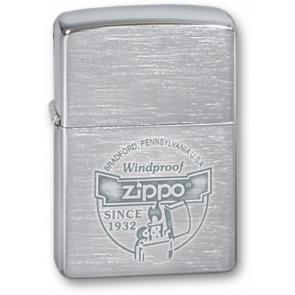 Зажигалка ZIPPO Since 1932, с покрытием Brushed Chrome, латунь/сталь, серебристая, 36x12x56 мм