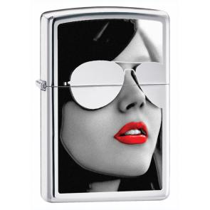 Зажигалка ZIPPO Gold Design с покрытием High Polish Chrome, латунь/сталь, серебристая, 36x12x56 мм
