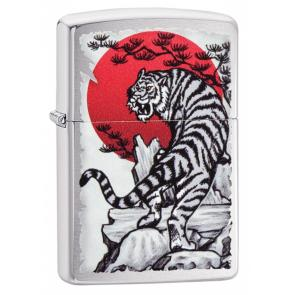Зажигалка ZIPPO Asian Tiger с покрытием Brushed Chrome, латунь/сталь, серебристая, 36x12x56 мм