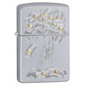 Зажигалка ZIPPO Money Tree Design с покрытием Satin Chrome, латунь/сталь, серебристая, 36x12x56 мм